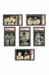 1982 BASEBALL CARD NEWS LOT OF (6) JOE DIMAGGIO AND MICKEY MANTLE AUTOGRAPHED CARDS