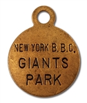 1920-23 DAVE BANCROFT NEW YORK GIANTS LOCKER TAG (BANCROFT FAMILY LOA)