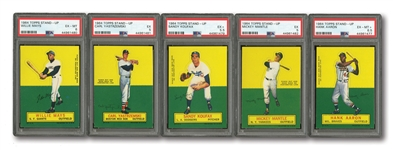 1964 TOPPS STAND-UP COMPLETE SET OF (77) WITH PSA GRADED MANTLE, MAYS, AARON, YAZ & KOUFAX