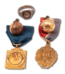 1943-44 BILL PIERCE HIGH SCHOOL BASEBALL AWARD JEWELRY INCL. ESQUIRE ALL-AMERICAN CHARM & TWO MVP MEDALLIONS - 5 TOTAL ITEMS (PIERCE FAMILY LOA)