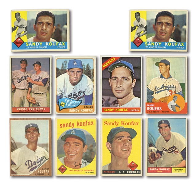 SANDY KOUFAX 1958-65 TOPPS LOT OF (10) CARDS INCL. 1960 DUPLICATE