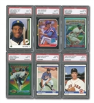 1983-93 CARD LOT OF (12) HALL OF FAMERS & STARS WITH (5) PSA MINT 9 INCL. 1984 FLEER UPDATE PUCKETT & CLEMENS ROOKIES AND 1993 TOPPS FINEST REFRACTORS CLEMENS