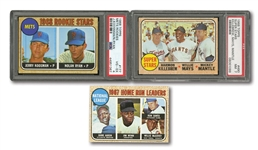 1968 TOPPS #177 NOLAN RYAN ROOKIE (PSA VG-EX 4), #490 SUPERSTARS KILLEBREW/MAYS/MANTLE PSA NM 7, AND #5 NL HR LEADERS AARON/McCOVEY