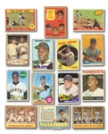 1958-78 TOPPS BASEBALL LOT OF (19) HALL OF FAMERS & STARS PLUS 1962 POST CEREAL #5 MICKEY MANTLE