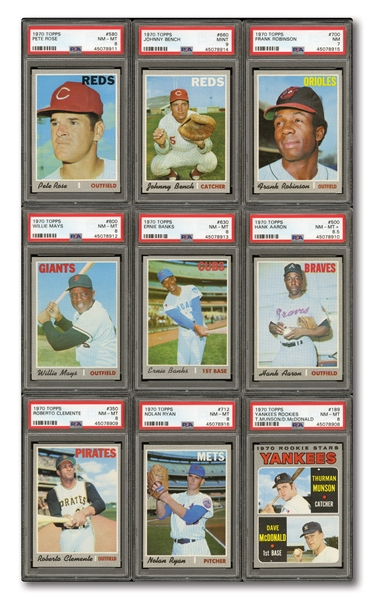 HIGH-GRADE 1970 TOPPS BASEBALL COMPLETE SET OF (720) WITH ALL KEY CARDS PSA GRADED