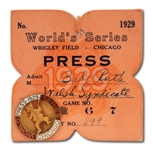 BABE RUTHS PERSONAL 1929 WORLD SERIES PRESS PIN WITH ORIGINAL CARDBOARD BACKING (RUTH FAMILY LOA)