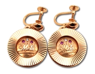 C. 1962 NEW YORK METS 14K GOLD EARRINGS WITH DIAMONDS & RUBIES