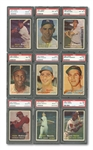1957 TOPPS COMPLETE SET OF (407) RANKED #21 ON PSA REGISTRY WITH 8.017 SET RATING - ALL CARDS GRADED PSA NM-MT 8 OR BETTER!