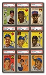 1954 TOPPS BASEBALL COMPLETE SET OF (250) WITH ALL KEY CARDS PSA GRADED INCL. AARON, BANKS & KALINE ROOKIES