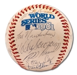 1981 LOS ANGELES DODGERS WORLD CHAMPIONS TEAM SIGNED OFFICIAL WORLD SERIES (KUHN) BASEBALL WITH 27 AUTOS.