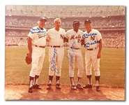 DUKE SNIDER, JOE DIMAGGIO, WILLIE MAYS & MICKEY MANTLE MULTI-SIGNED 11x14 PHOTO