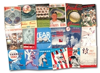 LOT OF (5) 1957-1964 NEW YORK YANKEES WORLD SERIES PROGRAMS AND (13) 1957-1969 NEW YORK YANKEES YEARBOOKS