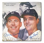 MICKEY MANTLE AND ROGER MARIS DUAL-SIGNED LIFE MAGAZINE PARTIAL COVER AND 1977 SPORTSCASTER CARD