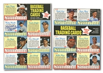 PAIR OF 1962 POST CEREAL UNCUT SIX-CARD PANELS AUTOGRAPHED BY MICKEY MANTLE AND ROGER MARIS