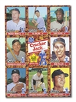 PAIR OF 1982 CRACKER JACK ALL-TIME GREATS UNCUT PANELS PLUS MICKEY MANTLE AUTOGRAPHED CARD