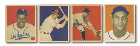 1949 BOWMAN BASEBALL LOT OF (4) HOFERS INCL. JACKIE ROBINSON