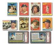 1956-62 MICKEY MANTLE TOPPS AND POST BASEBALL CARD LOT OF (10)