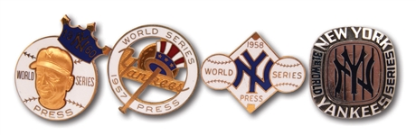 1957, 1958, 1960 AND 1977 NEW YORK YANKEES WORLD SERIES PRESS PINS LOT OF (4)