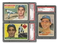 1955, 1956 AND 1957 TOPPS SANDY KOUFAX TRIO OF PSA GRADED CARDS