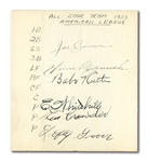 1933 INAUGURAL AMERICAN LEAGUE ALL-STARS PARTIAL TEAM SIGNED ROSTER SHEET FEATURING BABE RUTH