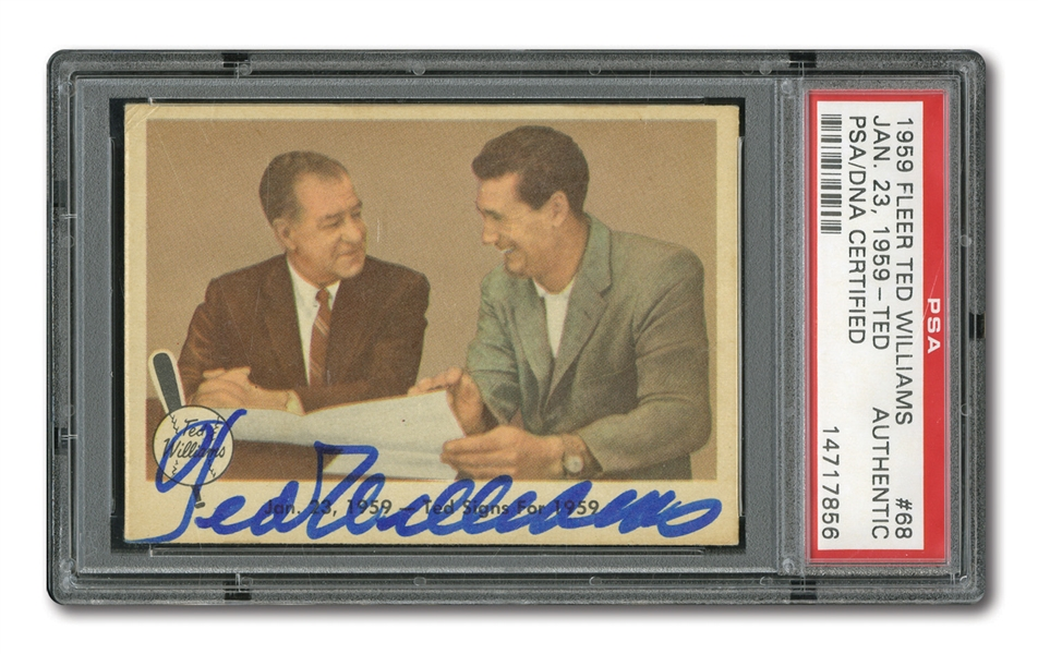 "1959 FLEER TED WILLIAMS AUTOGRAPHED CARD #68 ""TED SIGNS"""