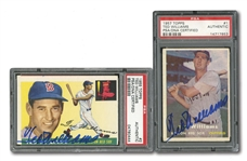 1955 AND 1957 TOPPS TED WILLIAMS PAIR OF AUTOGRAPHED CARDS