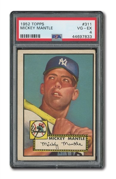 1952 TOPPS #311 MICKEY MANTLE PSA VG-EX 4