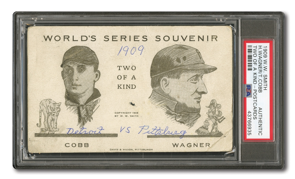 "RARE 1909 W.W. SMITH POSTCARDS HONUS WAGNER AND TY COBB ""TWO OF A KIND"" - PSA AUTHENTIC (1 OF 3 KNOWN)"