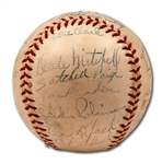 1948 CLEVELAND INDIANS WORLD CHAMPIONS TEAM SIGNED OAL (HARRIDGE) BASEBALL WITH 6 HOFERS INCL. PAIGE & FELLER