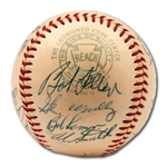 1956 CLEVELAND INDIANS TEAM SIGNED OAL (HARRIDGE) BASEBALL WITH 4 HOFERS INCL. FELLER