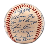 1959 CHICAGO WHITE SOX A.L. CHAMPIONS TEAM SIGNED OAL (HARRIDGE) BASEBALL WITH 4 HOFERS - PSA/DNA 8.5 OVERALL