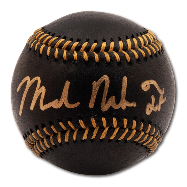 """MICHAEL NELSON TROUT"" (FULL NAME) SINGLE SIGNED OML BLACK BASEBALL (MLB AUTH.)"
