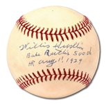 "WILLIS HUDLIN SINGLE SIGNED & INSCRIBED BASEBALL (""BABE RUTHS 500TH HR AUG 11, 1929"") AND SELF-DEPRECATING HANDWRITTEN NOTE"
