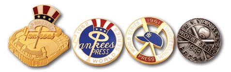 1943, 1961, 1962 & 2003 NEW YORK YANKEES WORLD SERIES PRESS PINS LOT OF (4)
