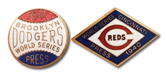 PAIR OF 1940 CINCINNATI REDS AND 1941 BROOKLYN DODGERS WORLD SERIES PRESS PINS