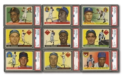 1955 TOPPS BASEBALL COMPLETE SET OF (206) WITH 16 PSA GRADED INCL. CLEMENTE, KOUFAX & KILLEBREW ROOKIES