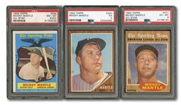 MICKEY MANTLE 1962 TOPPS #200 (PSA EX 5), 1962 TOPPS #471 ALL-STAR (PSA EX-MT 6), AND 1959 TOPPS #564 (PSA NM-MT 8/OC)