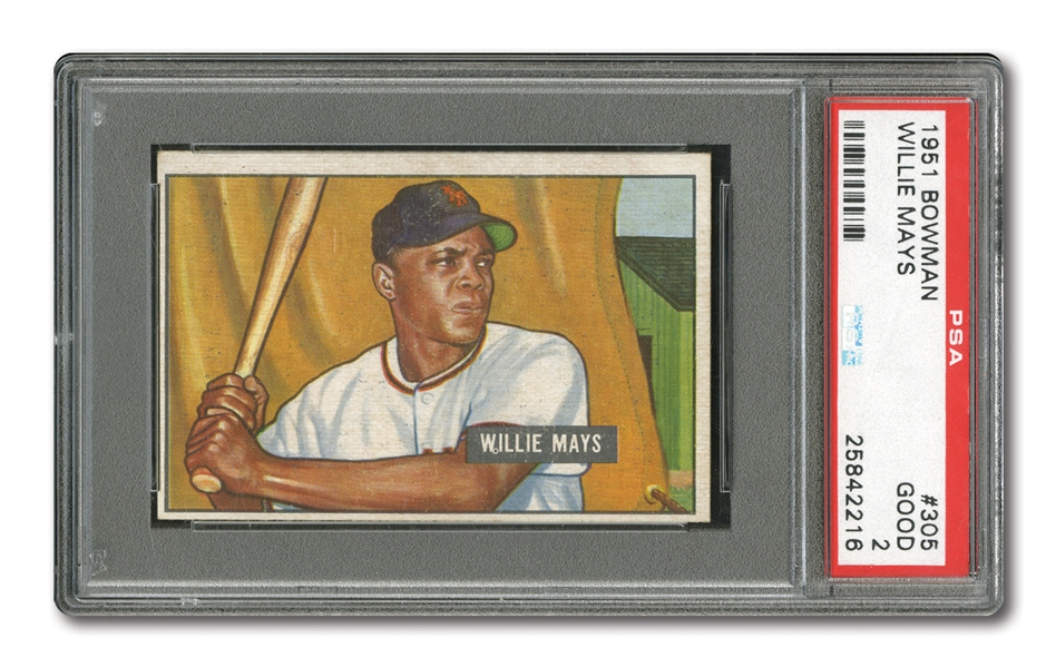1951 BOWMAN #305 WILLIE MAYS ROOKIE PSA GD 2