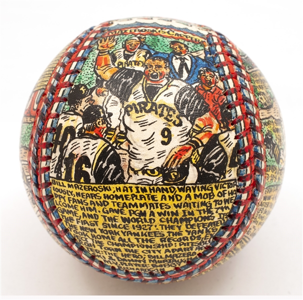 HIGH-GRADE GEORGE SOSNAK 1960 PITTSBURGH PIRATES WORLD SERIES CHAMPIONS FOLK ART BASEBALL WITH GORGEOUS CLEMENTE AND MAZEROSKI PANELS (1 OF 1)