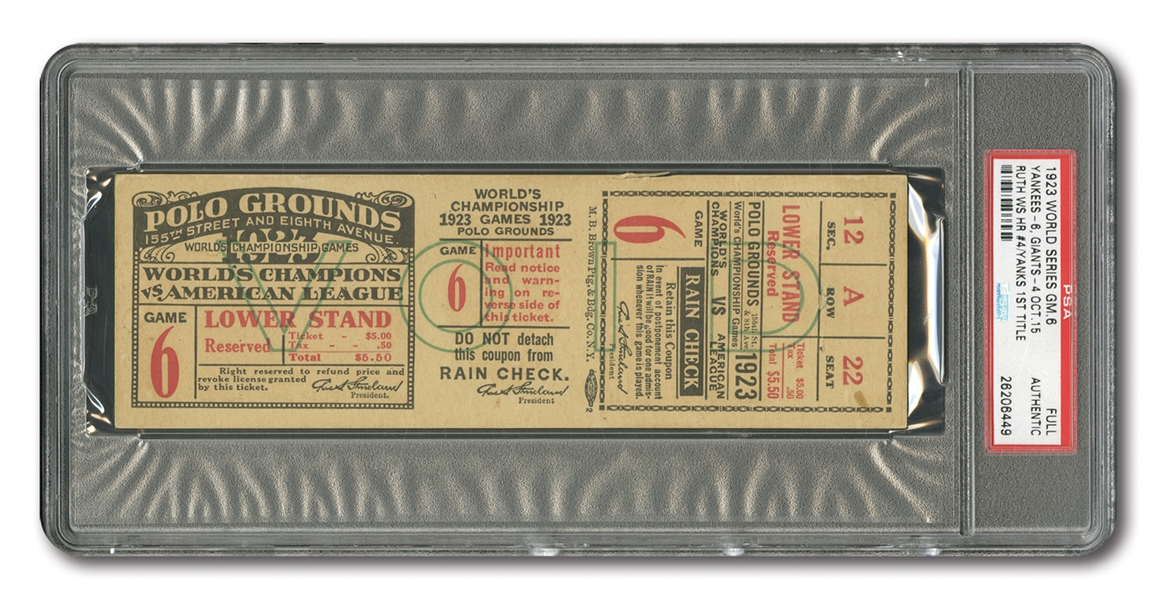 1923 WORLD SERIES (YANKEES AT GIANTS) GAME 6 FULL TICKET: NYY CLINCH 1ST W.S. TITLE! - PSA AUTHENTIC (1 OF 3 EVER ENCAPSULATED)