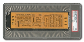 1925 WORLD SERIES (PIRATES VS. SENATORS) GAME 1 FULL TICKET - PSA EX-MT 6 (ONLY FULL EVER ENCAPSULATED)