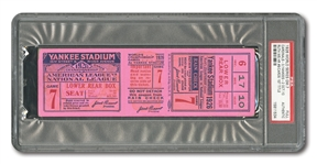 1926 WORLD SERIES (CARDINALS AT YANKEES) GAME 7 FULL TICKET - PSA AUTHENTIC