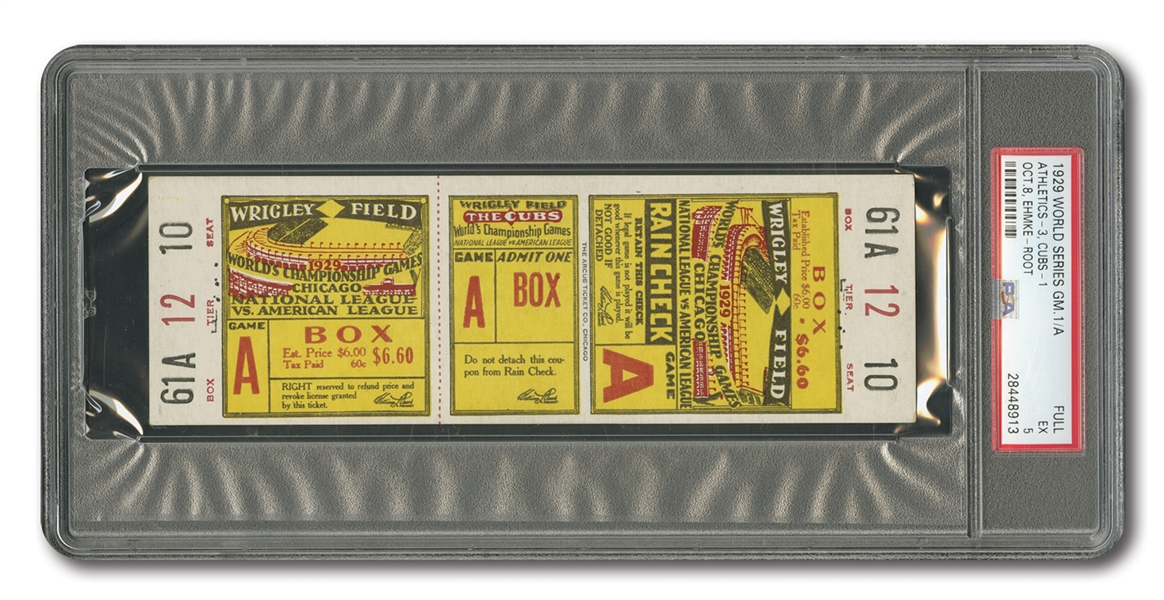 1929 WORLD SERIES (ATHLETICS AT CUBS) GAME 1 FULL TICKET - PSA EX 5 (ONLY ONE HIGHER)