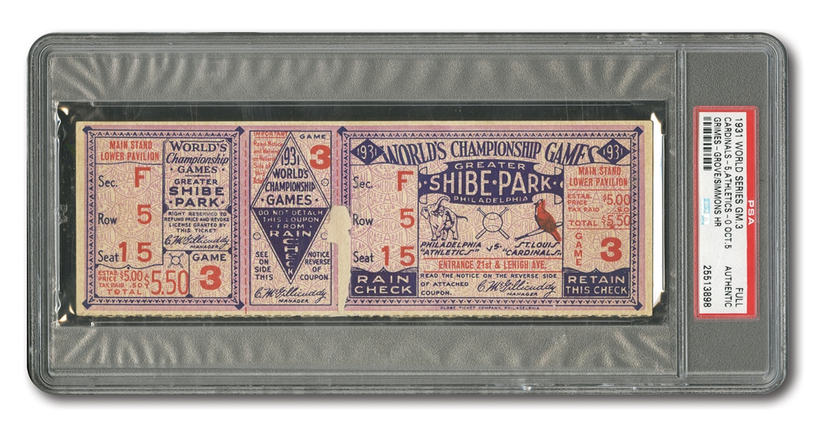1931 WORLD SERIES (CARDINALS AT ATHLETICS) GAME 3 FULL TICKET - PSA AUTHENTIC (ONLY TWO EVER ENCAPSULATED)