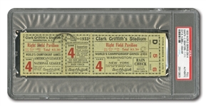 1933 WORLD SERIES (GIANTS AT SENATORS) GAME 4 FULL TICKET - PSA AUTHENTIC (ONLY TWO ENCAPSULATED)