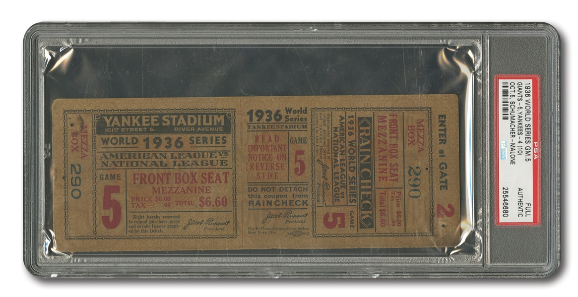 1936 WORLD SERIES (YANKEES VS. GIANTS) GAME 5 FULL TICKET - PSA AUTHENTIC