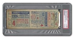 1938 WORLD SERIES (YANKEES VS. CUBS) GAME 4 FULL TICKET - GEHRIGS LAST W.S. APPEARANCE (PSA AUTHENTIC)