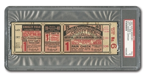 1940 WORLD SERIES (REDS VS. TIGERS) GAME 1 FULL TICKET - PSA EX 5 (ONLY TWO EVER GRADED)