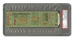 1943 WORLD SERIES (YANKEES VS. CARDINALS) GAME 2 FULL TICKET - PSA VG-EX 4 (NONE HIGHER)