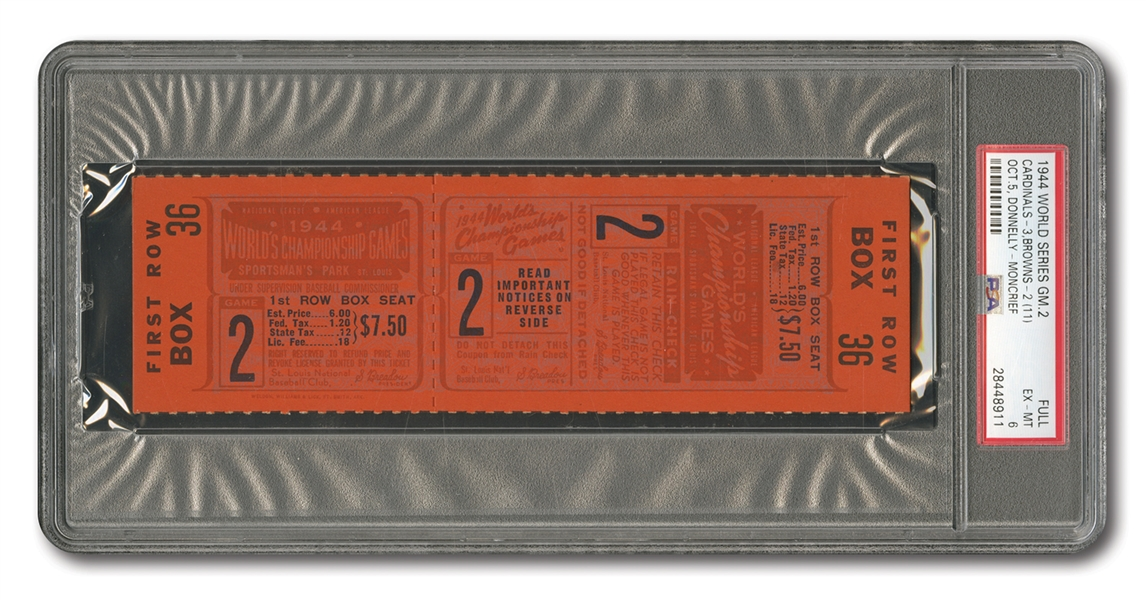 1944 WORLD SERIES (ST. LOUIS CARDINALS VS. BROWNS) GAME 2 FULL TICKET - PSA EX-MT 6 (NONE HIGHER, POP 1)